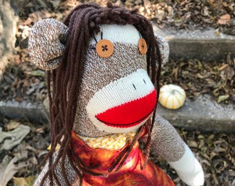 Autumn Baker sock monkey -Ready to ship!