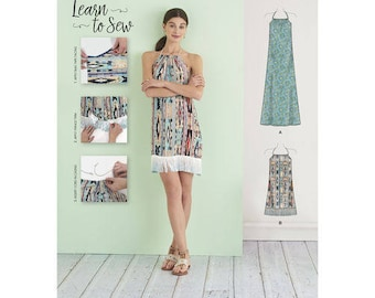 Simplicity Pattern 8382/D0662 Misses' Halter Dress in Two Lengths. Learn to Sew. Size XXS-XXL. Pattern is new and uncut.