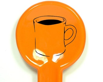 spoon rest with a diner mug of coffee print on it.  Made to Order/Pick Your Colour