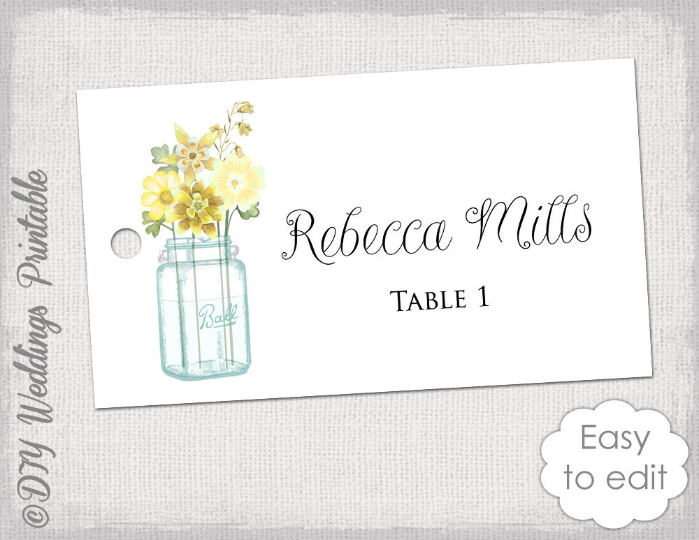 Place Card Template Printable Wedding Name Cards Mason - Name place cards template