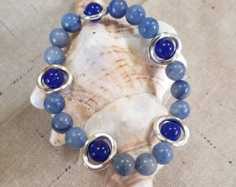 Blue Adventurine and Blue Sapphire Jade gemstone bracelet