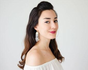 Off White Lace Earrings Teenage Gift For Her Daughter Gift For Mom Dangle Earrings Long Earrings Boho Chic Elegant Earrings/ STARA