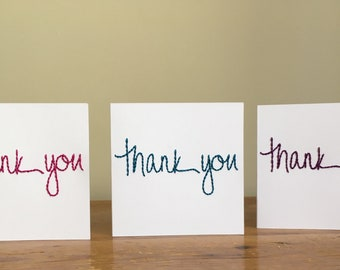Pack of 3 'Thank You' cards