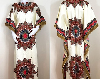 30% Off Sale 70s Style Cream Multicolor Feather Hippie Dashiki Kaftan Maxi Dress, Size Large to XL