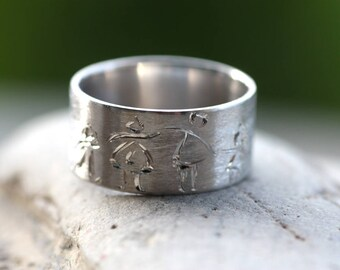Handmade engraving/Sterling Silver band/Woman's ring/Woman's wide band/White gold plated ring/Mother's handcrafted band/Family sketch/