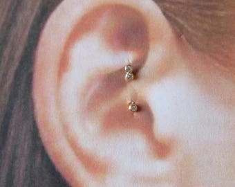 14k Gold Daith Piercing Double Bezel Cz Curved Barbell..16g..6 or 8mm