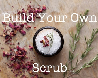 Mix| Build a Salt Scrub: Your Choice of Essential & Fragrance Oil-Scented Salt Scrub, in 6 oz Reusable and Recyclable Pouch