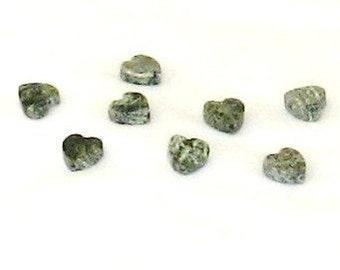 Hearts, stone, tiny, beads, green, grey, small, supplies
