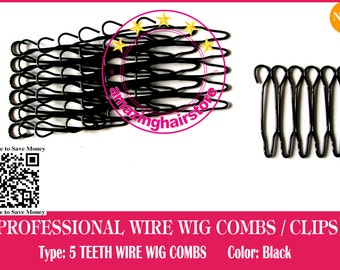 64 pieces Durable 5 Teeth Security Small Wire Wig Combs/Wire Clips for Lace Front Wigs/Toupee/Hairpiece/Half Wigs/Clousure-Free Shipping