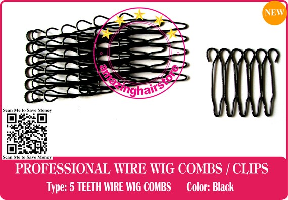 64 pieces Durable 5 Teeth Security Small Wire Wig Combs/Wire Clips ...