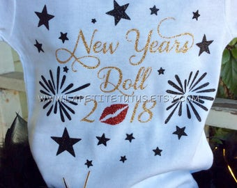 New years doll, new years shirt, happy new year shirt, girls shirt, girls clothing, toddler shirt, toddler clothing, onepiece, clothing,