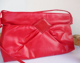 Red Vinyl Purse With Faux Snakeskin Accent
