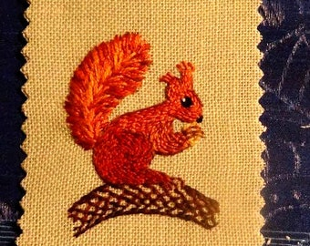 OOAK embroidery squirrel bookmark