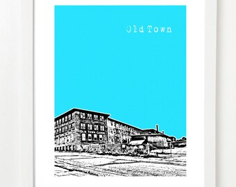 Old Town Maine Poster - City Skyline Art Print - Old Town Art Print