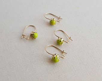 Vintage gold plated green bead earrings