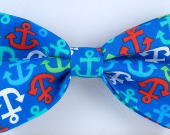 "The ""Sailer"" Bow Tie Dog Bow Tie Cat Bow Tie Anchor Bow Tie Dog Collar Bow Tie Summer Bow Tie Photo Prop Boat Anchor"