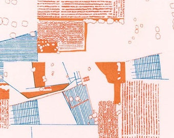 Aerial Lawn in Tangerine- Friedlander Lawn by Carolyn Friedlander for Robert Kaufman