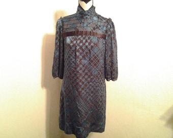 Antonio Melani  Aqua and Brown Knee Length Dress- Size 4