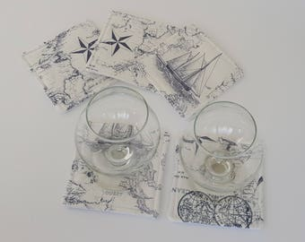 Nautical Fabric coaster