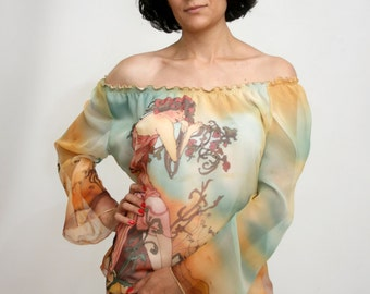 Hand painted women's  silk blouse.  Alphonse Mucha motive pure silk blouse. Made to order. Free shipping.