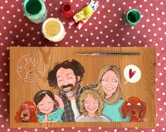 DILISA Personalized family portrait of 6 subjects,family illustration, family picture, custom family likeness