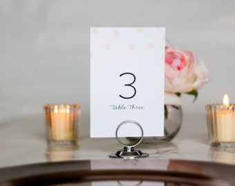 Watercolor Polka Dot Wedding Table Numbers, Set of Table Numbers, 4x6, 5x7, Tented