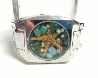 Repurposed Upcycled/Recycled Beach Watch Bracelet W9