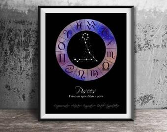 Zodiac Art, Pisces, Pisces Print,Astrology Chart,Zodiac Print,Zodiac Printable,Zodiac Wall Art,Zodiac Wall Print,Zodiac Wall Printable