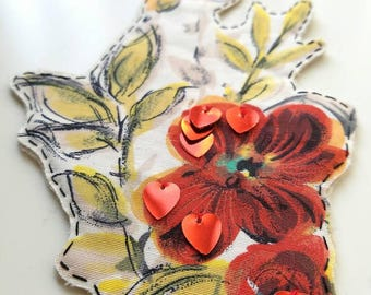 Vintage Rose Textile Sequin Pin,Brooch,Holiday,Woman,Flower,Corsage,Red,Christmas,Gift,Sequins,Birthday,Accessory,Handmade,One-of-a-kind,Sew