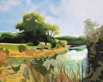 Kettle Moraine Acrylic Painting on Canvas, Framed