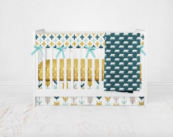 Baby Bedding Yellowstone Set 1 - Woodland Bedding - Mustard Crib Sheet - Bear Crib Bedding - Teal Bedding - Arrow Crib Bedding -Crib Blanket