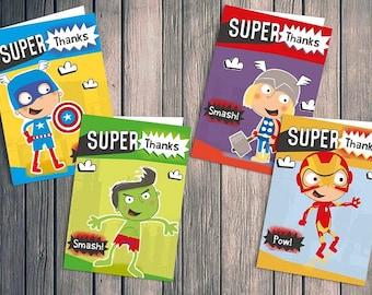Children's Superhero Avengers Thank You Cards 28 pack inc envelopes