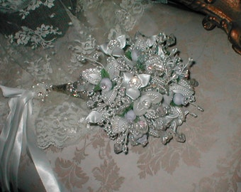 Jewelled Bridal Bouquet in a Tussy Mussy