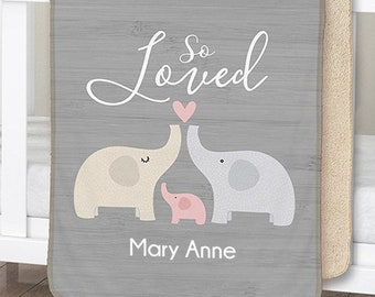 Personalized So Loved Sherpa Blanket for Baby, baby blanket, elephant, pink, personalized blankie, baby shower, newborn -gfyU11384114-pink