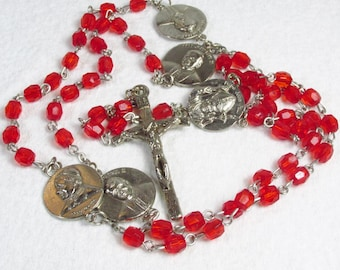 Faceted red beads Pope John Paul II medallions rosary