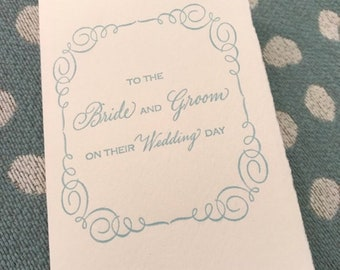 To the Bride and Groom on their Wedding Day Letterpress Card