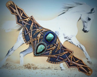 Exclusive tooled leather fantasy horse browband with labradorite cabochons - Stylish artisan accessories by Gemsplusleather