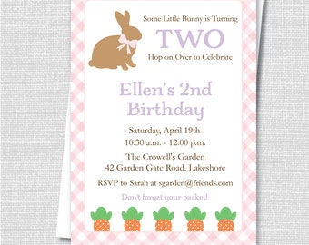 Pink Bunny Birthday Invitation - Some Bunny Theme - Easter or Spring Birthday Invite - Digital Design or Printed Invitations - FREE SHIPPING