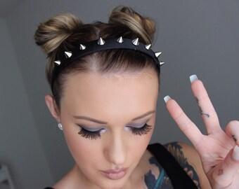 Spiked Headband, Black Spiked Headband, Silver Spike, Pastel Goth, Hair Accessory