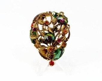 Rivoli Rhinestone Brooch, Vintage Jewelry, Open Back Rhinestones, 1960s Jewelry, Flower Brooch, Green Rhinestone, Estate Jewelry, Brooch,Pin