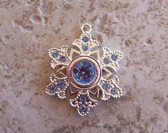 Light Blue Rhinestone Snowflake Necklace Pendant  ~ Princess Ice Flake Pendant ~ Frozen Snowflake Pendant