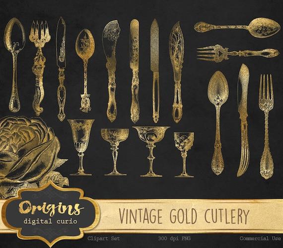 Vintage Gold Cutlery Clipart Antique Silverware Clip Art