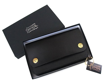 SasoRi Old Valley Tokyo Original Black Saddle Leather Bikers Truckers Wallet Made Japan Quality SMOKY SUMI'S STORE