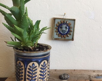 Petite Hand-Painted Vintage Mexican Sun with Mustache Wall Tile