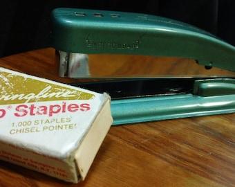 """Vintage 50s Teal Swingline Cub 5.5"""" Metal Stapler w/ box of staples - Works Great"""
