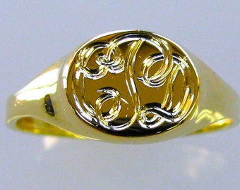 Personalized Hand Engraved Signet Monogram Ring Made to Order