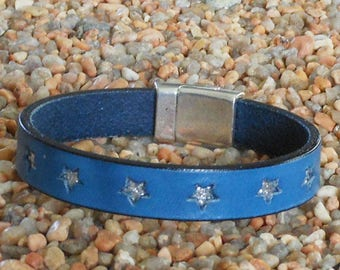 Denim Blue Leather Bracelet with silver stars