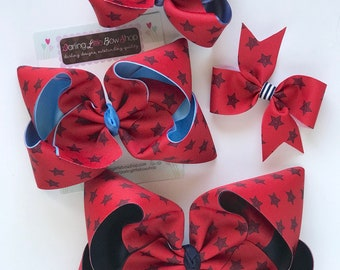 """Hairbows to match Matilda Jane Wish You Were Here in 4 sizes - In The Stars - choose 4"""", 4-5"""", 6"""" or 7-8"""" bow"""
