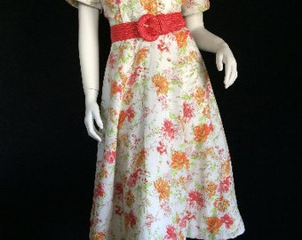 Repro Vintage 40s 50s Cotton Pique Lined Shirtwaist Day Dress