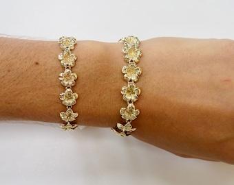 14 Karat Solid Yellow Gold Plumeria Flower Tennis Bracelet, Hawaiian Jewelry, Tropical Fine Jewelry